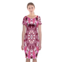 Twirling Pink, Abstract Candy Lace Jewels Mandala  Classic Short Sleeve Midi Dress