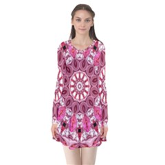 Twirling Pink, Abstract Candy Lace Jewels Mandala  Flare Dress