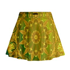Yellow Green Abstract Wheel Of Fire Mini Flare Skirt