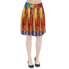 Conundrum I, Abstract Rainbow Woman Goddess  Pleated Skirt by DianeClancy