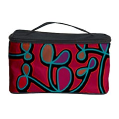 Red Floral Pattern Cosmetic Storage Case by Valentinaart