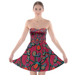 Red Floral Pattern Strapless Bra Top Dress
