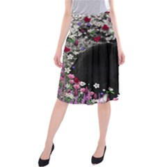 Freckles In Flowers Ii, Black White Tux Cat Midi Beach Skirt by DianeClancy