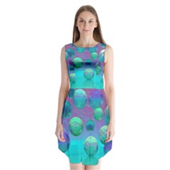 Ocean Dreams, Abstract Aqua Violet Ocean Fantasy Sleeveless Chiffon Dress   by DianeClancy