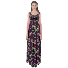 Elegant Purple Pattern Empire Waist Maxi Dress by Valentinaart