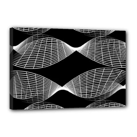 Wavy Lines Black White Seamless Repeat Canvas 18  X 12