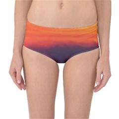 Sunrise Colors Purple Orange Pink Mid Waist Bikini Bottoms