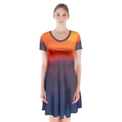 Sunrise Colors Purple Orange Pink Short Sleeve V-neck Flare Dress by CrypticFragmentsColors