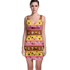 Cupcakes Pattern Sleeveless Bodycon Dress