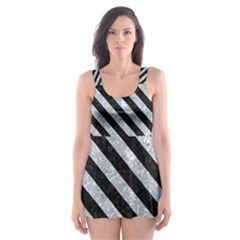 Stripes3 Black Marble & Gray Marble (r) Skater Dress Swimsuit by trendistuff