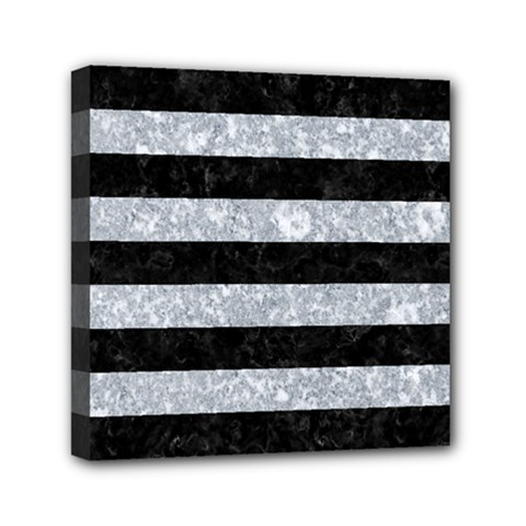 Stripes2 Black Marble & Gray Marble Mini Canvas 6  X 6  (stretched) by trendistuff