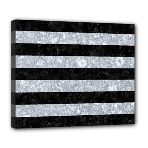 Stripes2 Black Marble & Gray Marble Deluxe Canvas 24  X 20  (stretched) by trendistuff
