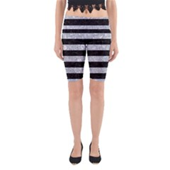 Stripes2 Black Marble & Gray Marble Yoga Cropped Leggings