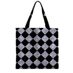 Square2 Black Marble & Gray Marble Zipper Grocery Tote Bag by trendistuff