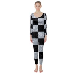 Square1 Black Marble & Gray Marble Long Sleeve Catsuit by trendistuff