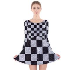 SQR1 BK-GY MARBLE Long Sleeve Velvet Skater Dress by trendistuff