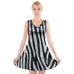Skin4 Black Marble & Gray Marble (r) V Neck Sleeveless Dress