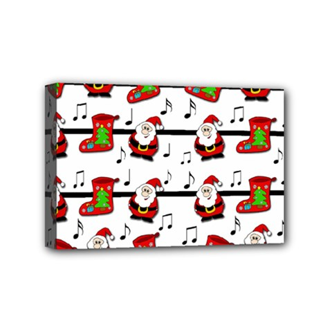 Xmas Song Pattern Mini Canvas 6  X 4  by Valentinaart
