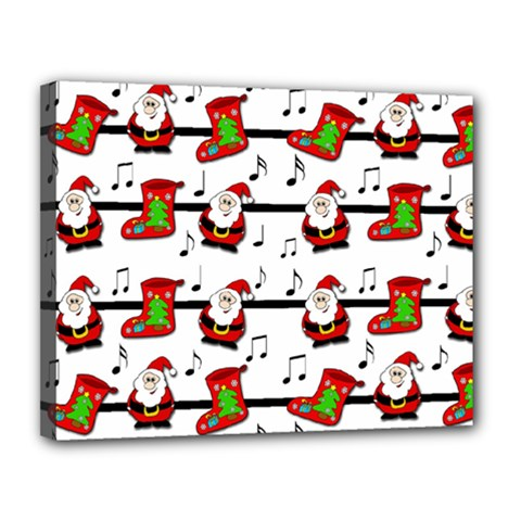 Xmas Song Pattern Canvas 14  X 11  by Valentinaart