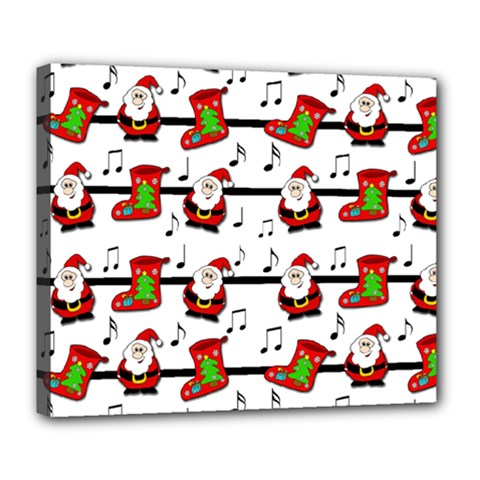 Xmas Song Pattern Deluxe Canvas 24  X 20   by Valentinaart