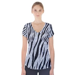 Skin3 Black Marble & Gray Marble (r) Short Sleeve Front Detail Top by trendistuff