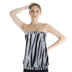 Skin3 Black Marble & Gray Marble (r) Strapless Top by trendistuff