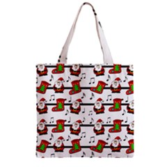 Xmas Song Pattern Zipper Grocery Tote Bag by Valentinaart
