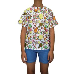 Xmas candy pattern Kids  Short Sleeve Swimwear by Valentinaart
