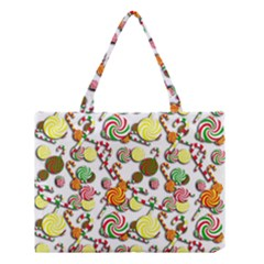 Xmas Candy Pattern Medium Tote Bag by Valentinaart