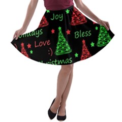New Year Pattern   Red And Green A Line Skater Skirt