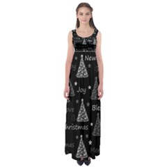 New Year Pattern   Gray Empire Waist Maxi Dress by Valentinaart
