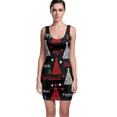 New Year Pattern   Red Sleeveless Bodycon Dress
