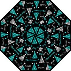 New Year Pattern   Cyan Folding Umbrellas by Valentinaart