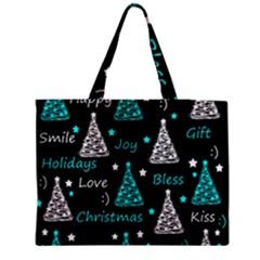 New Year Pattern   Cyan Medium Zipper Tote Bag by Valentinaart
