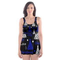 New Year pattern - blue Skater Dress Swimsuit by Valentinaart