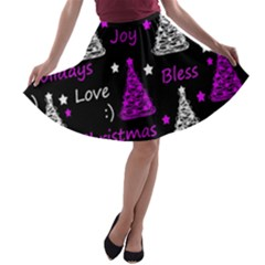 New Year Pattern   Purple A Line Skater Skirt by Valentinaart