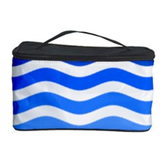 Water White Blue Line Cosmetic Storage Case by AnjaniArt