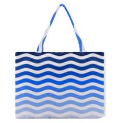 Water White Blue Line Medium Zipper Tote Bag