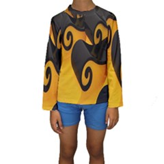 Black Yellow Kids  Long Sleeve Swimwear by AnjaniArt