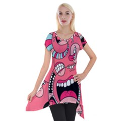 Big Mouth Worm Short Sleeve Side Drop Tunic