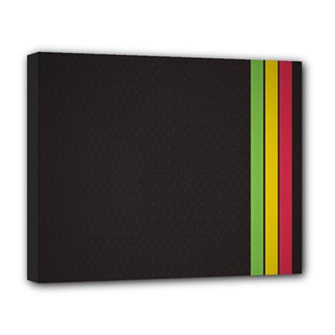 Brown White Stripes Green Yellow Pink Deluxe Canvas 20  X 16   by AnjaniArt