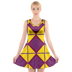 Complexion Purple Yellow V Neck Sleeveless Skater Dress by AnjaniArt