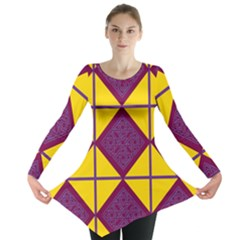 Complexion Purple Yellow Long Sleeve Tunic  by AnjaniArt
