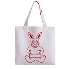 Cute Rabbit With I M So Cute Text Banner Zipper Grocery Tote Bag by dflcprints