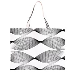 Wavy Lines Curves Grid Pattern Black On White Large Tote Bag by CrypticFragmentsColors