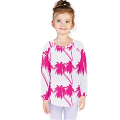 Palm Tree Pink Pattern Kids  Long Sleeve Tee by CrypticFragmentsColors