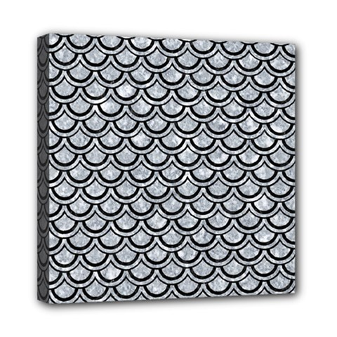 Scales2 Black Marble & Gray Marble (r) Mini Canvas 8  X 8  (stretched) by trendistuff
