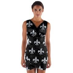 RYL1 BK-GY MARBLE (R) Wrap Front Bodycon Dress by trendistuff