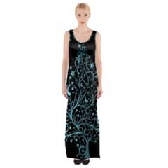 Elegant Blue Christmas Tree Black Background Maxi Thigh Split Dress by yoursparklingshop