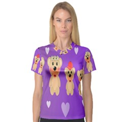 Happy Bears Cute Women s V Neck Sport Mesh Tee by AnjaniArt